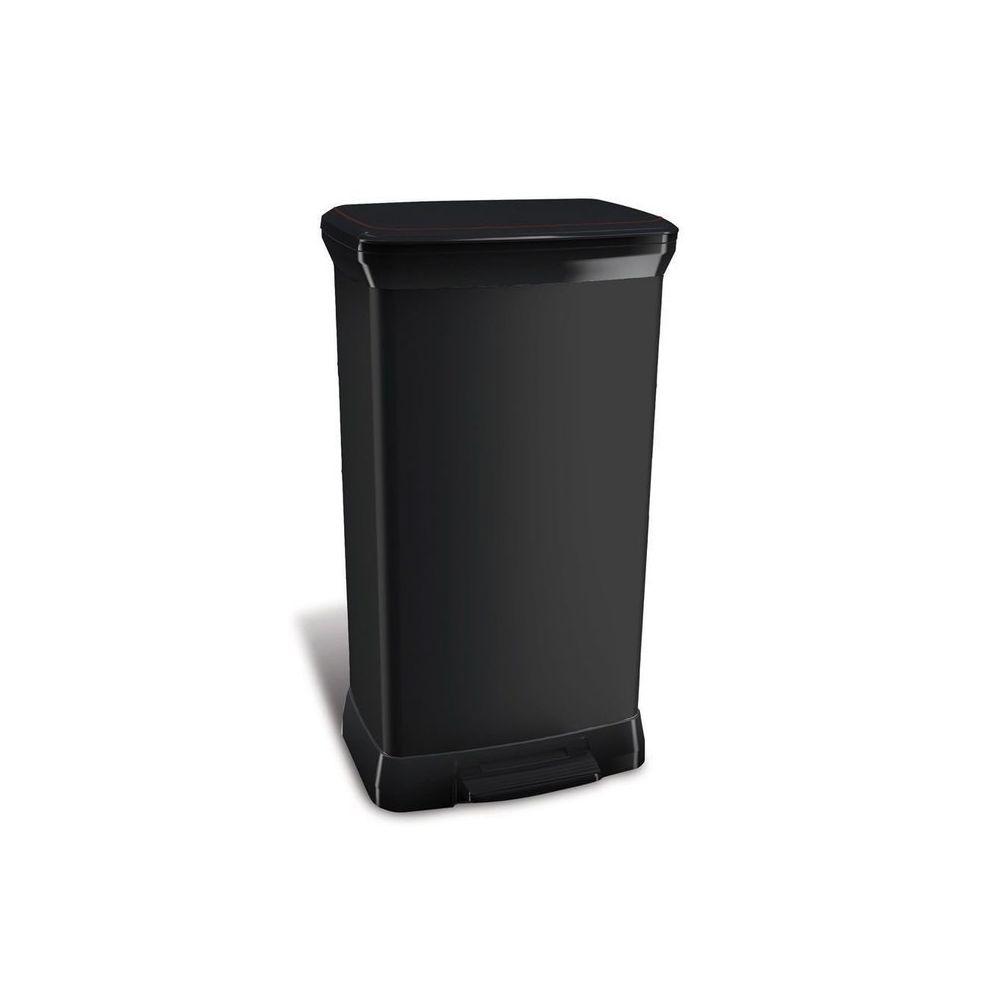 Curver Poubelle de cuisine à pédale 50 Litres aspect métal rectangulaire Bliss - Noir