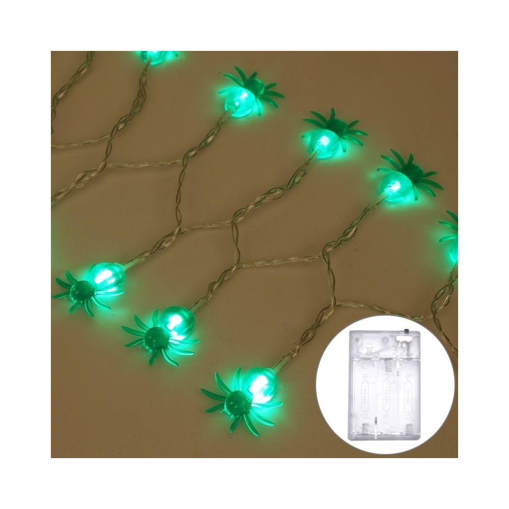 Wewoo 2,5 m araignée conception lumière verte série Halloween lumière à cordes LED, 20 LEDs 3 piles AA piles boîte exploité ac