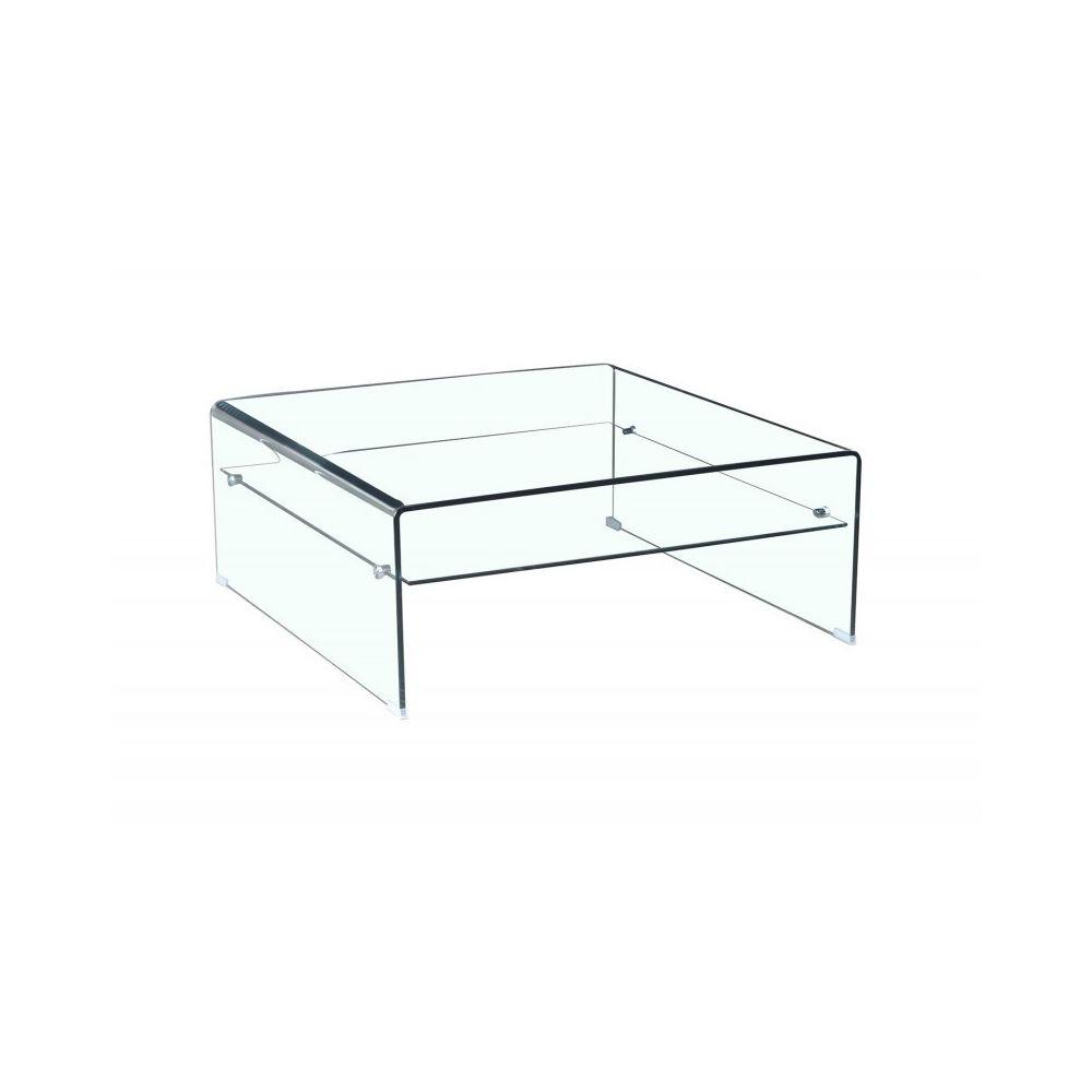 Meubletmoi Table basse verre trempé design carré avec étagère vitrée - ICE