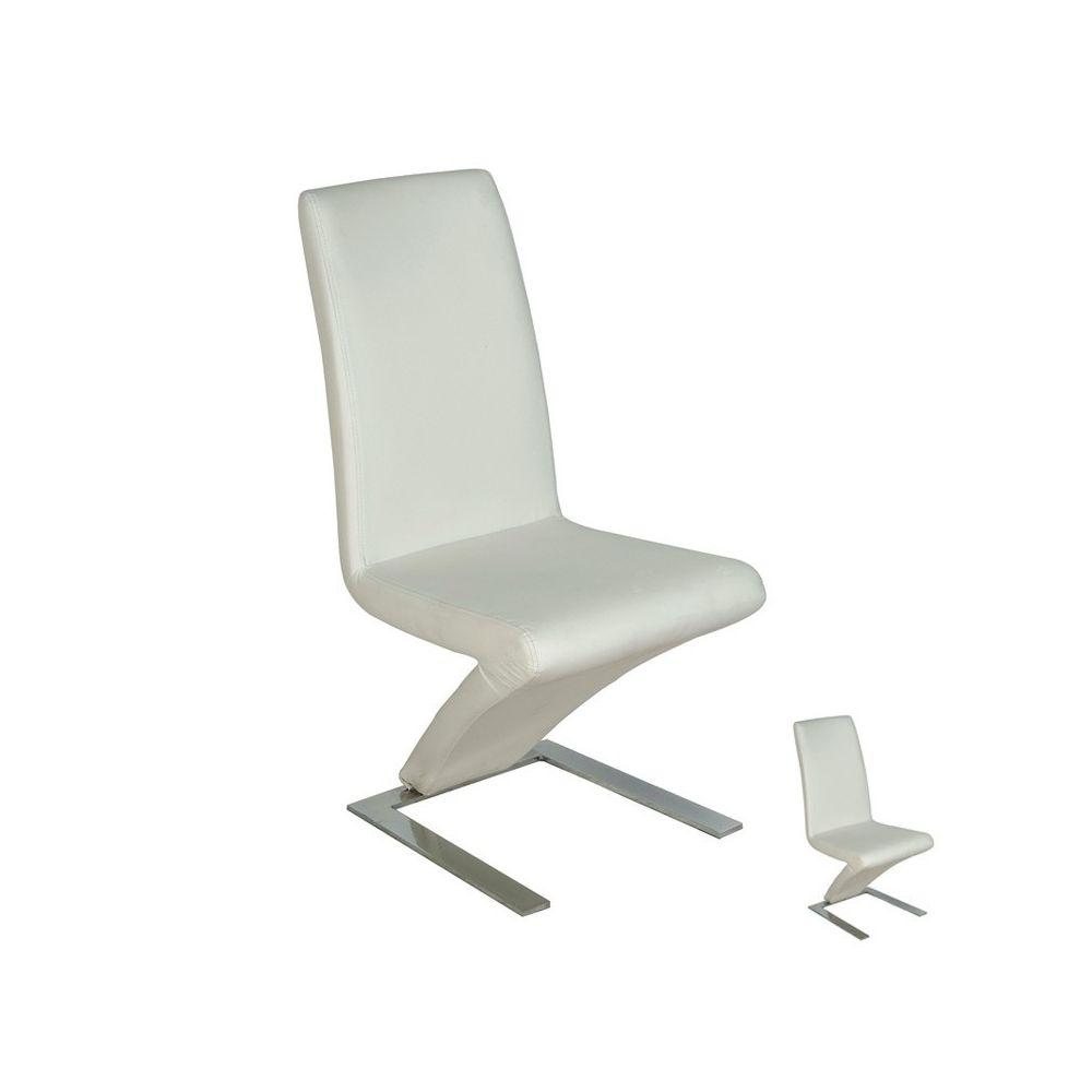 Tousmesmeubles Duo de Chaises simili cuir Blanc - ZAIA