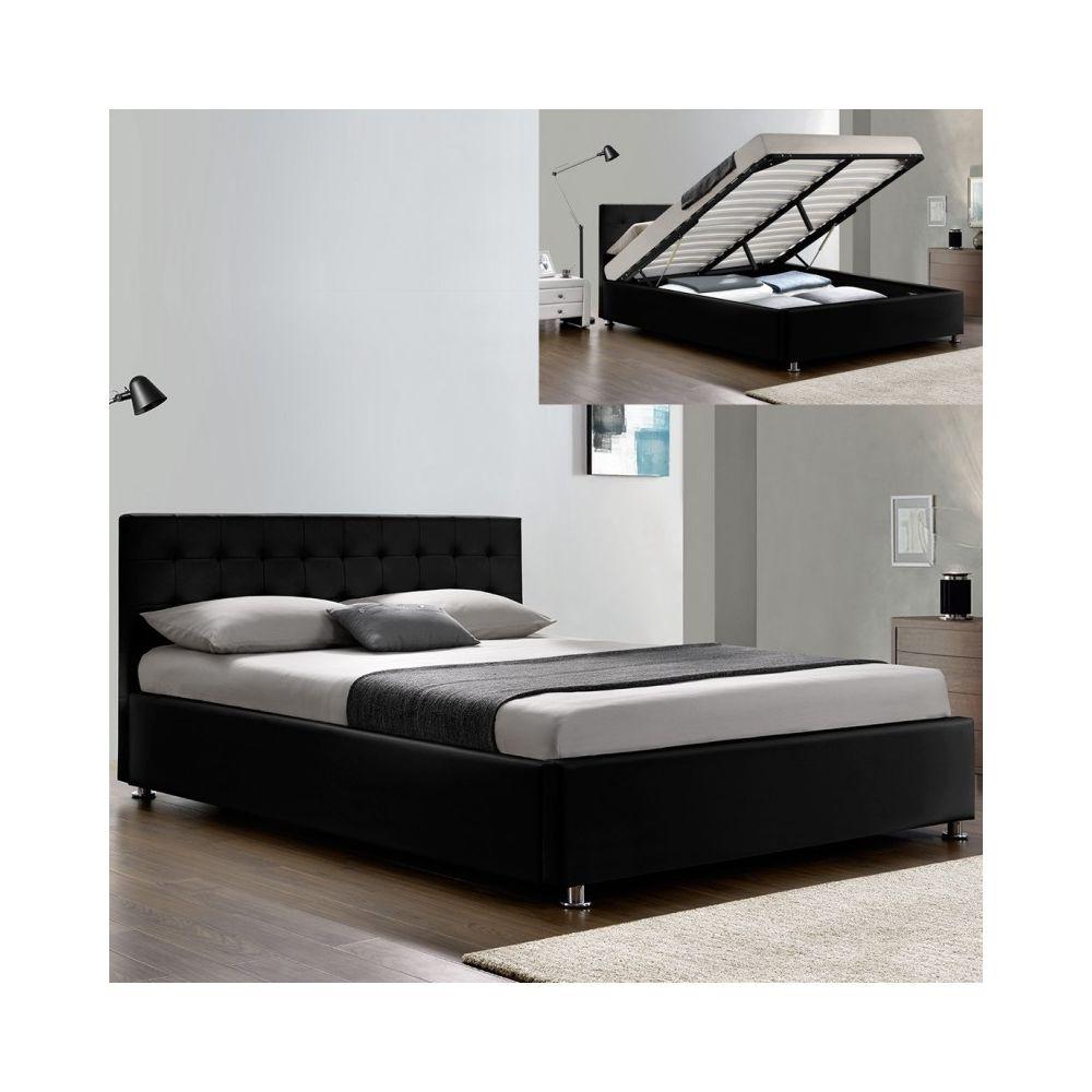 Meubler Design Lit complet sommier relevable + tête de lit + cadre de lit Capitole - Noir - 160x200