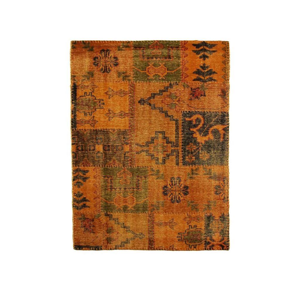 Mon Beau Tapis KILIM - Tapis en laine artisanal patchwork ethnique safran 135x190