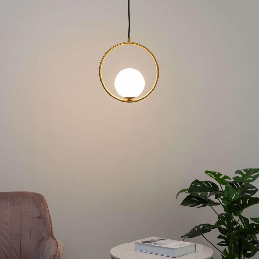 Kosilum Suspension boule verre blanc avec anneau doré - Yara