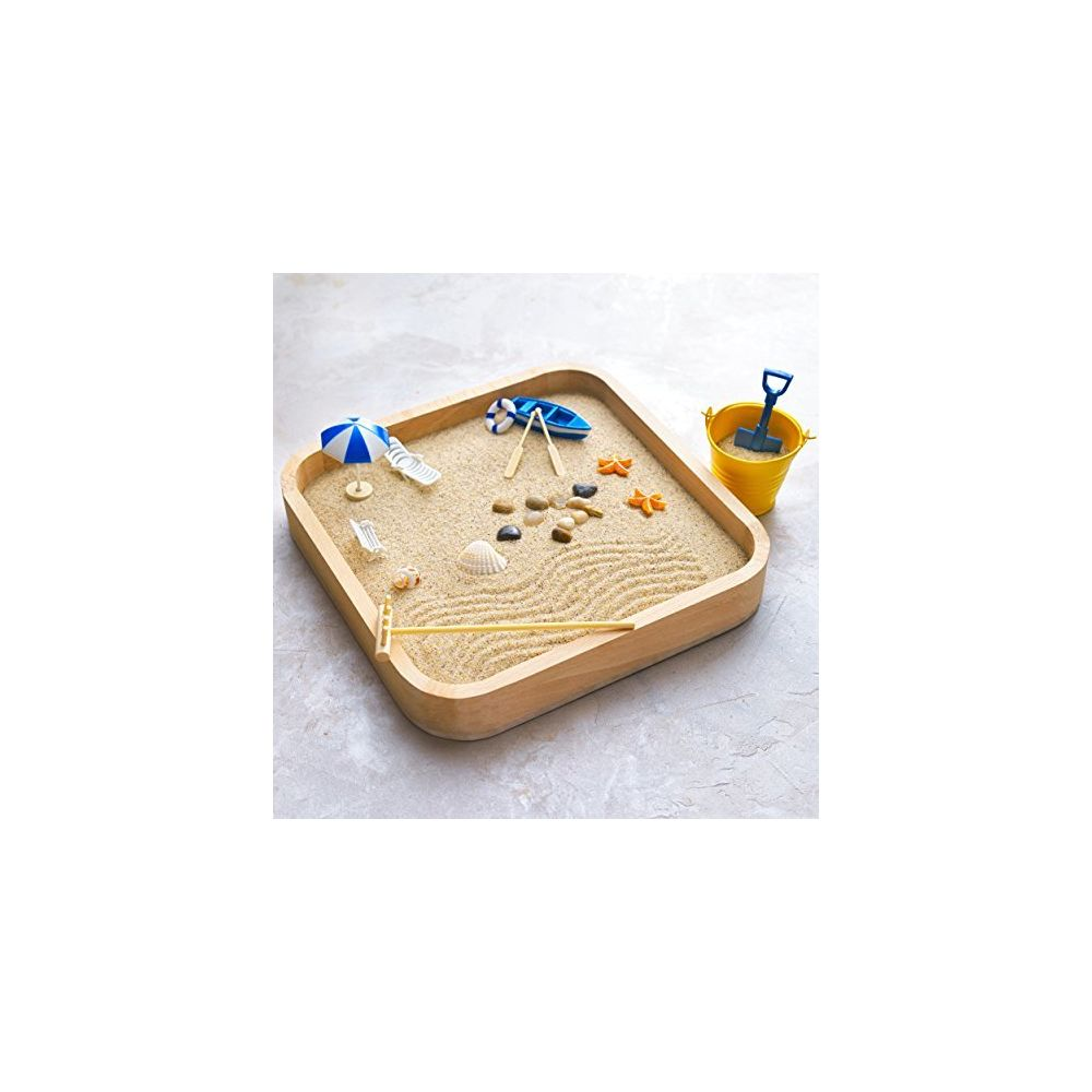 Kenley Kenley Mini Sandbox for Desk - Miniature Beach and Zen Garden - Sand Toys Play Kit for Kids Adults Office - Sand Box Gif