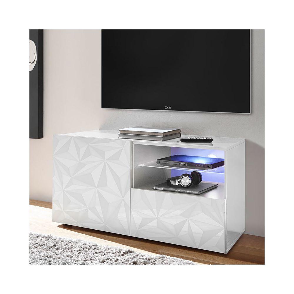 Sofamobili Meuble télé 120 cm blanc laqué design ANTONIO