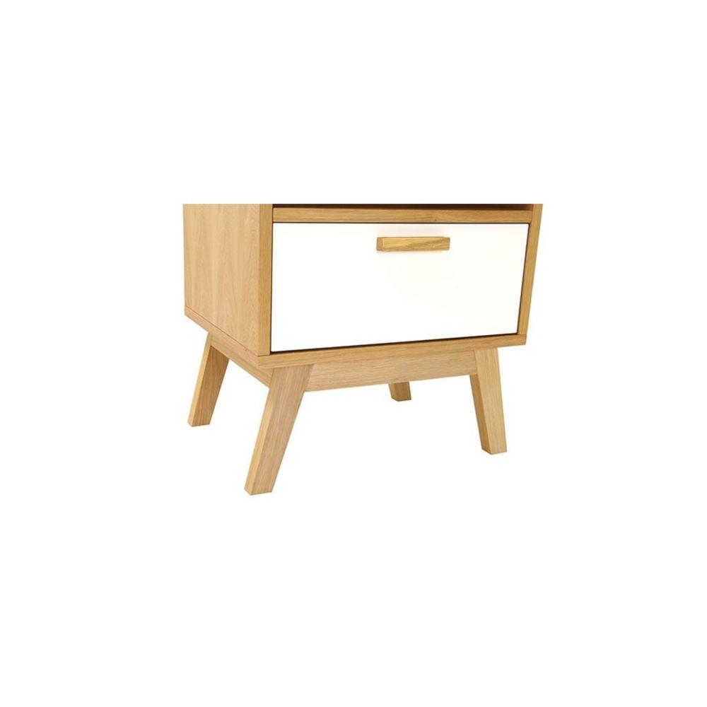 Miliboo - Table de chevet design scandinave blanc et chêne HELIA