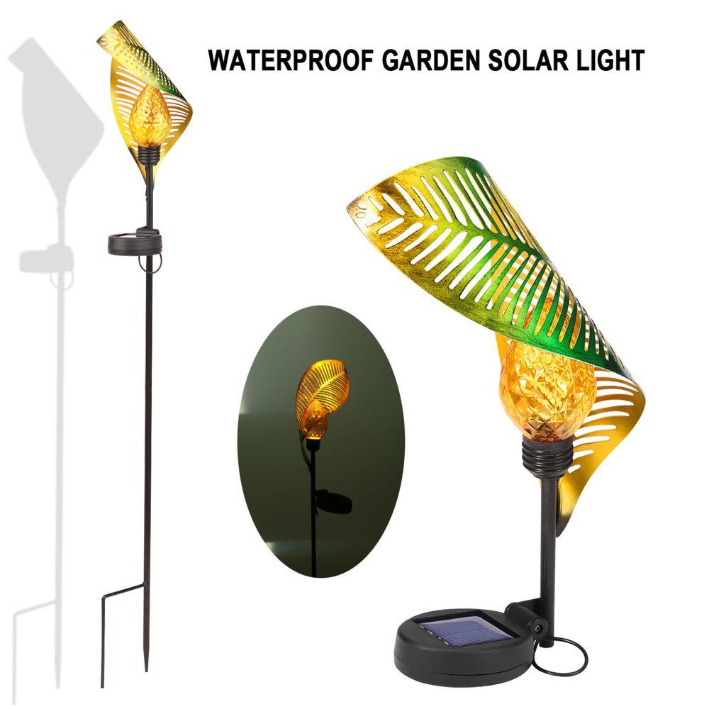 Generic Feuille de fer solaire LED lumière jardin de pelouse extérieur inséré LED lumière paysage lumière