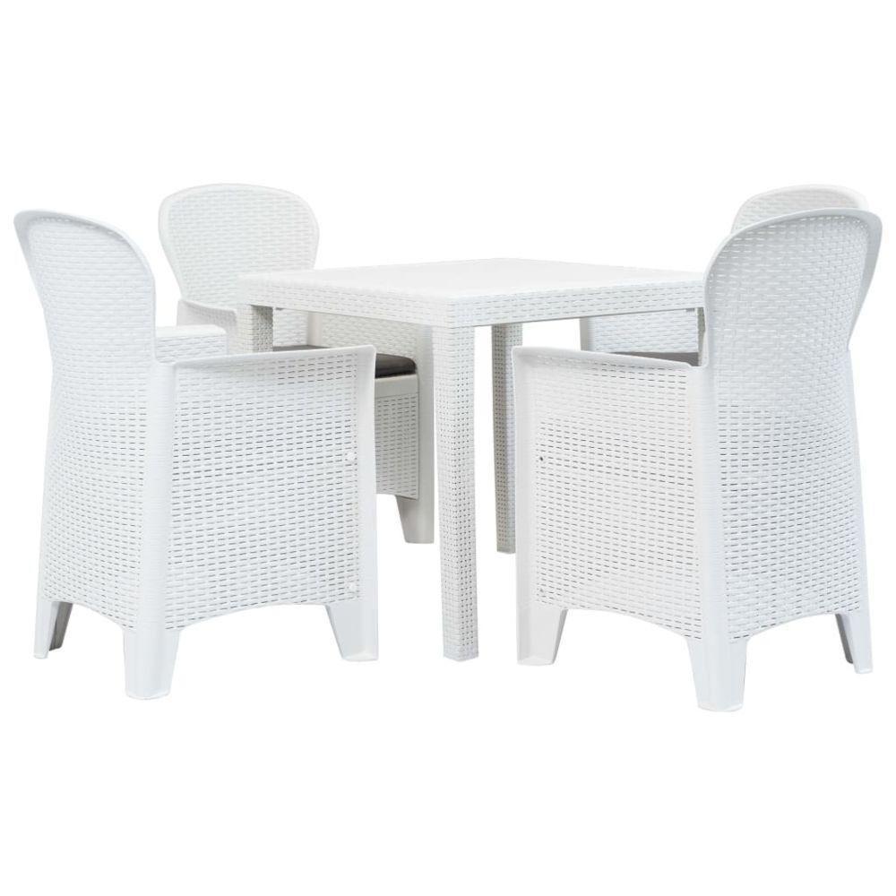 Vidaxl vidaXL Meuble à dîner d'extérieur 5pcs Plastique Blanc Aspect de rotin