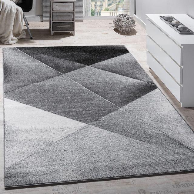 Kurzflor Tapis Géométrique Motif De Losange contours Coupe Anthracite Moderne
