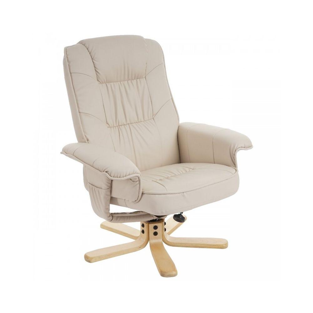 Decoshop26 Fauteuil relax en simili-cuir crème pied en bois siège pivotant FAL04029