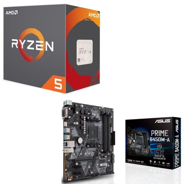 Amd - Ryzen 5 2600 Wraith Stealth Edition - 3,4/3,9 GHz + AMD B450 PRIME - Micro-ATX - Kit d'évolution