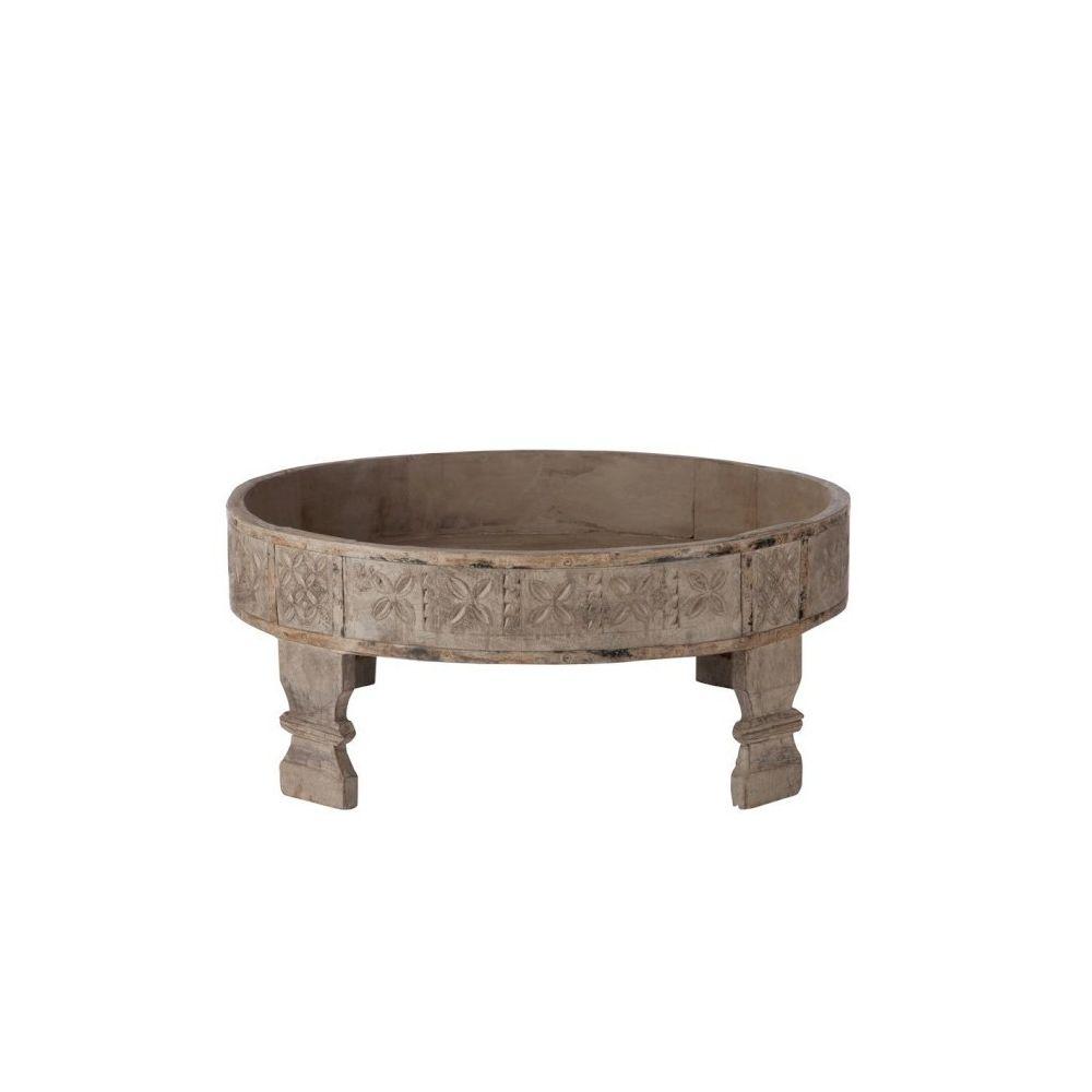 Design And Vintage Table de salon plateau rond en bois gris