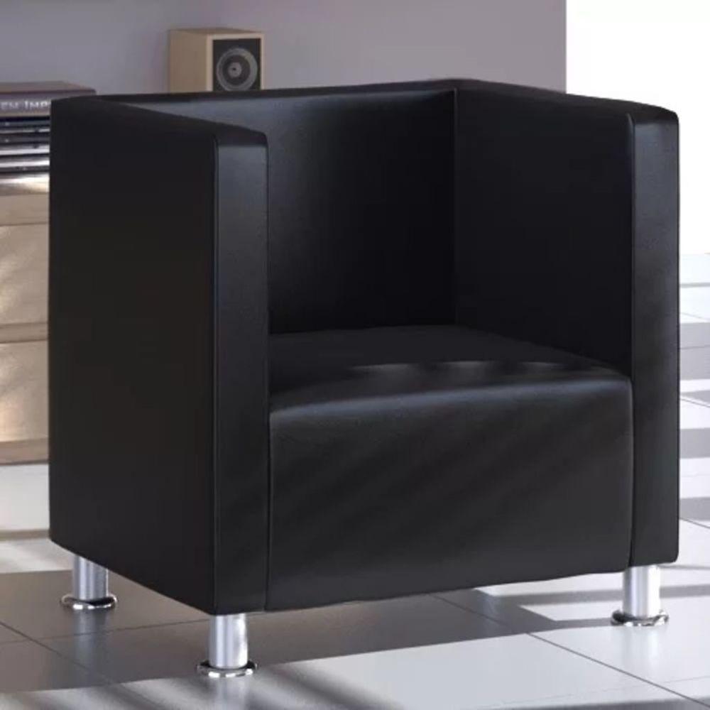 Vidaxl Fauteuil Design de cube Cuir synthétique Noir | Noir