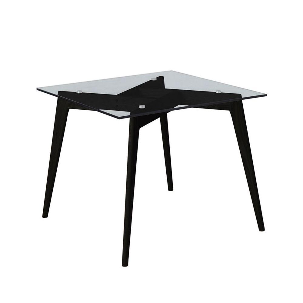Tousmesmeubles Table de repas Carrée Verre/Noir - SAMBA