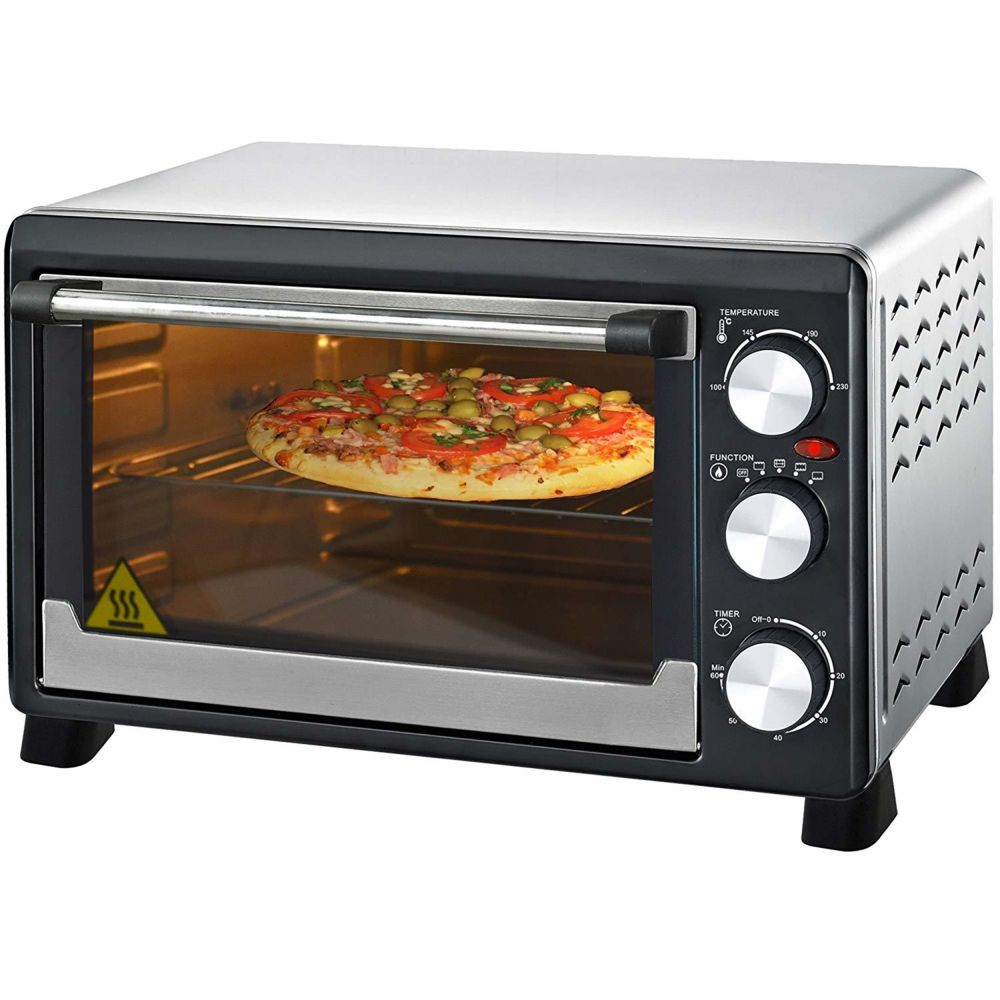 Syntrox Germany Mini Four avec chaleur tournante 23 L Acier Inoxydable tournebroche et support Mini Four à pizza