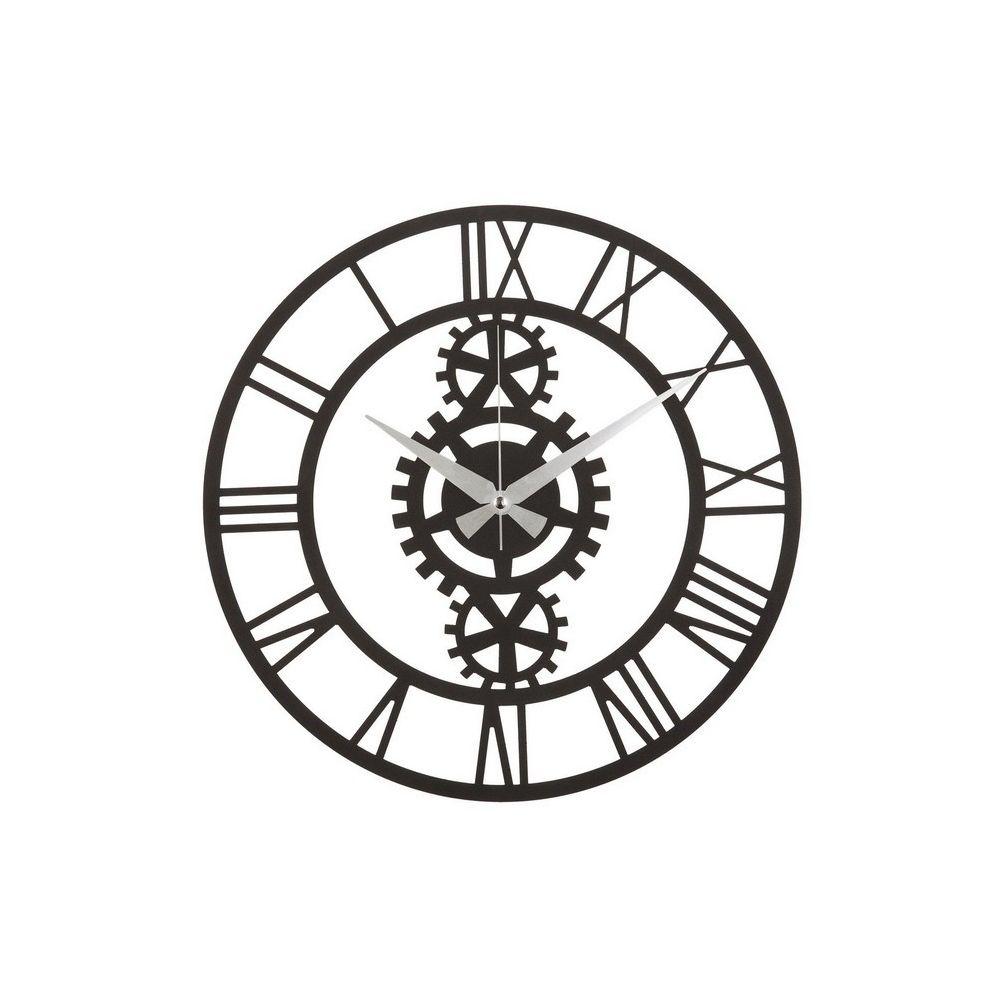 Homemania HOMEMANIA Horloge Murale Muro - Décorative - Ingranaggi - pour Séjour, Chambre - Noir en Acier, 50 x 0,2 x 50 cm