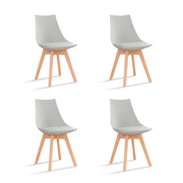 Oneboutic - Lot de 4 chaises scandinaves grises - Prague - Chaises