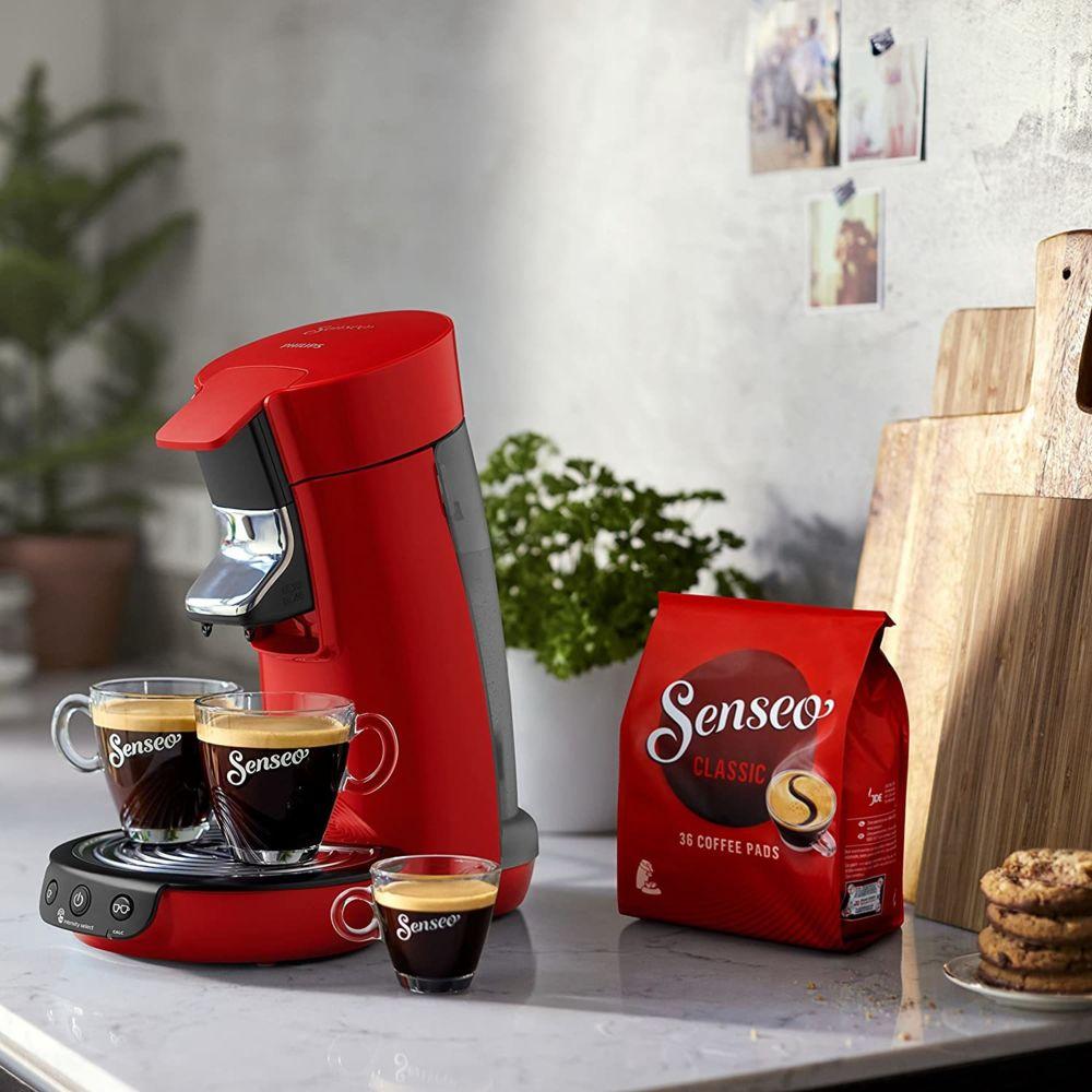 Philips Machine à Café à Dosettes SENSEO de 0,9L 1450W rouge noir