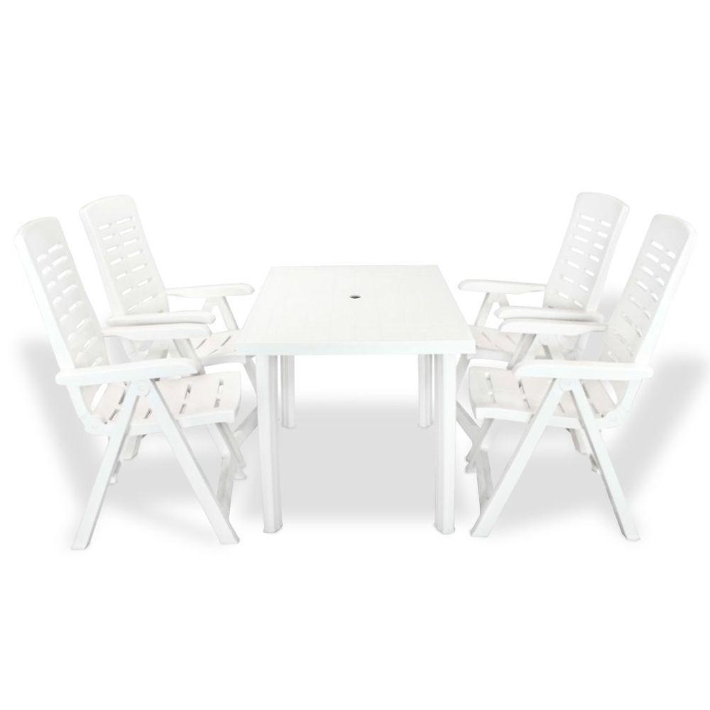 Vidaxl vidaXL Mobilier à dîner d'extérieur 5 pcs Plastique Blanc