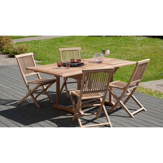 MACABANE -Table rectangulaire 120/180 x 90 cm en teck grade A - MACABANE MACABANE  - Tables de jardin