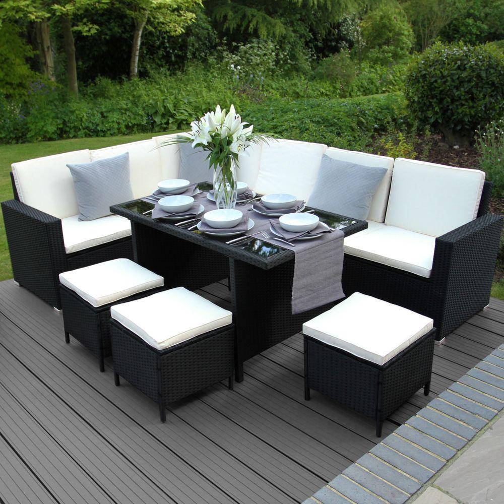 Monstershop Ensemble jardin mobilier en rotin noir avec tabouret, table et canapé en L Noir
