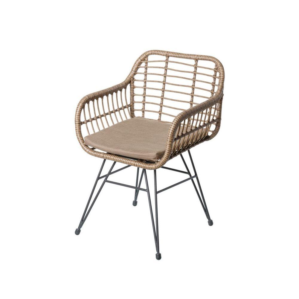 Ma Maison Mes Tendances Lot de 2 chaises de jardin en rotin et acier ALBECETE - L 55 x l 62 x H 80