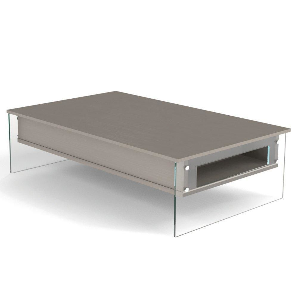 Inside 75 Table basse relevable taupe BELLA 110x70cm piétement en verre