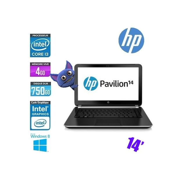 "Hp - HP PAVILION 14-N200SF CORE I3 4005U - GRADE B Intel Core i3-4010U-1.7Ghz 4   Go750 Go  Intel HD Graphics Familys WIFI WEBCAM 14"""" Windows 10 AZERTY Hp   - HP Pavilion"