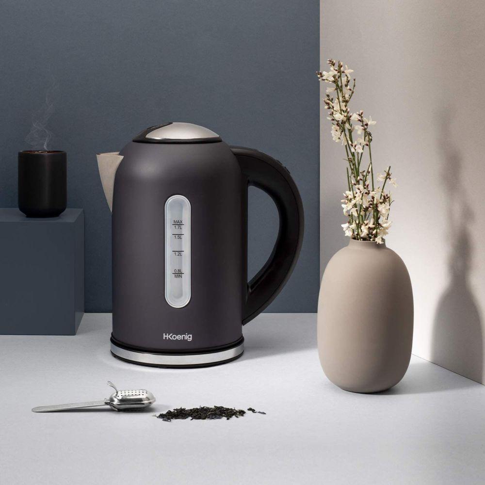 Hkoenig bouilloire électrique de 1,7L sans fil 2200W noir gris