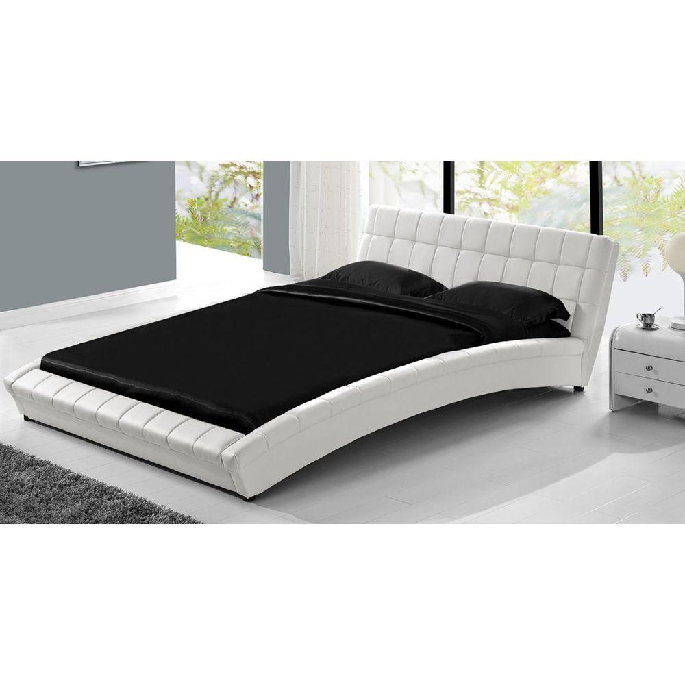 Concept Usine Lit design Chelsea 140x190cm Blanc capitonné simili cuir