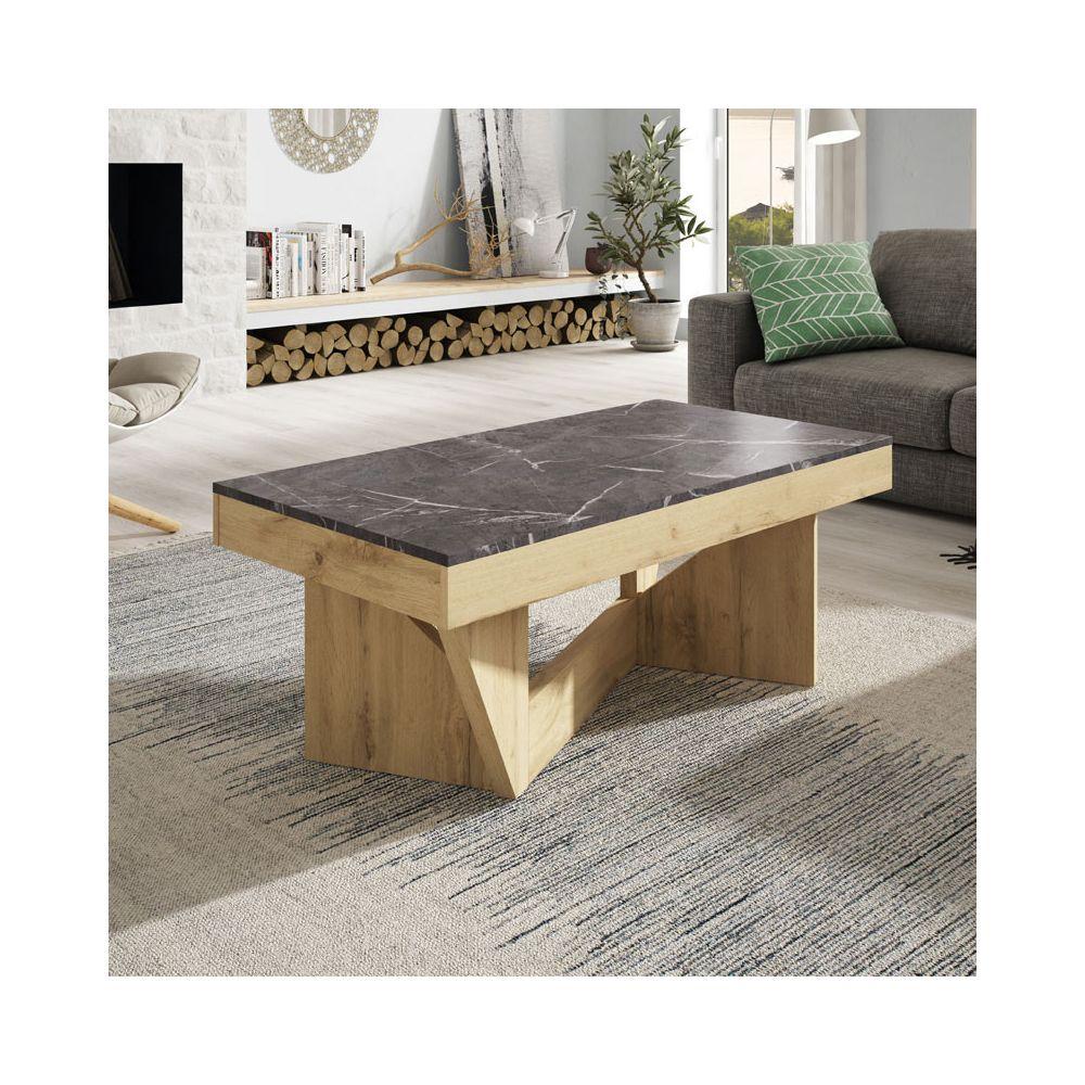 Tousmesmeubles Table basse relevable Chêne blond/Marbre gris - POPLO