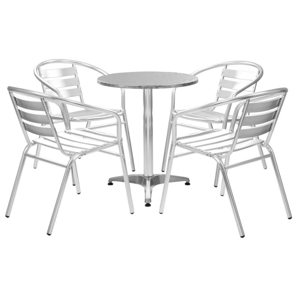 Vidaxl vidaXL Mobilier à dîner d'extérieur 5 pcs Aluminium Argenté