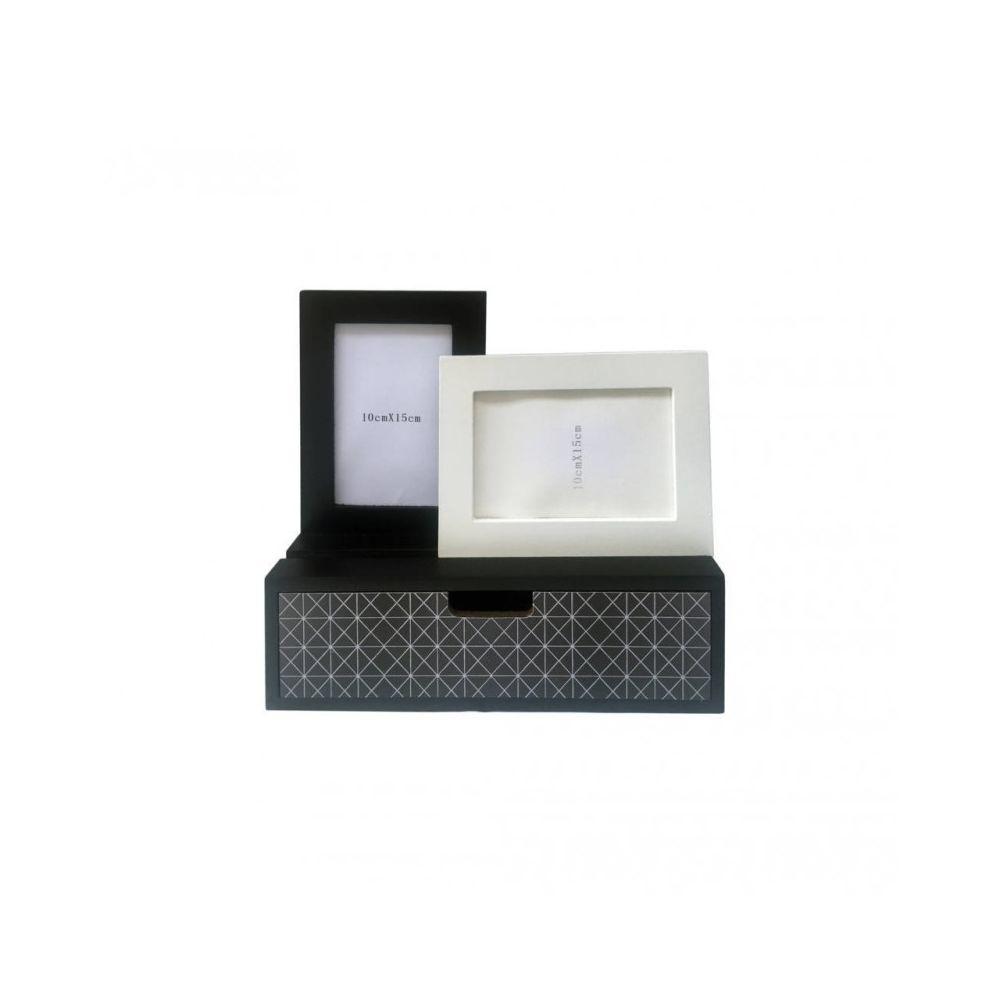 Mobili Rebecca Mini-Commode Cadre-Photos 1 Tiroir 2 Cadre-Photos Bois Noir Blanc