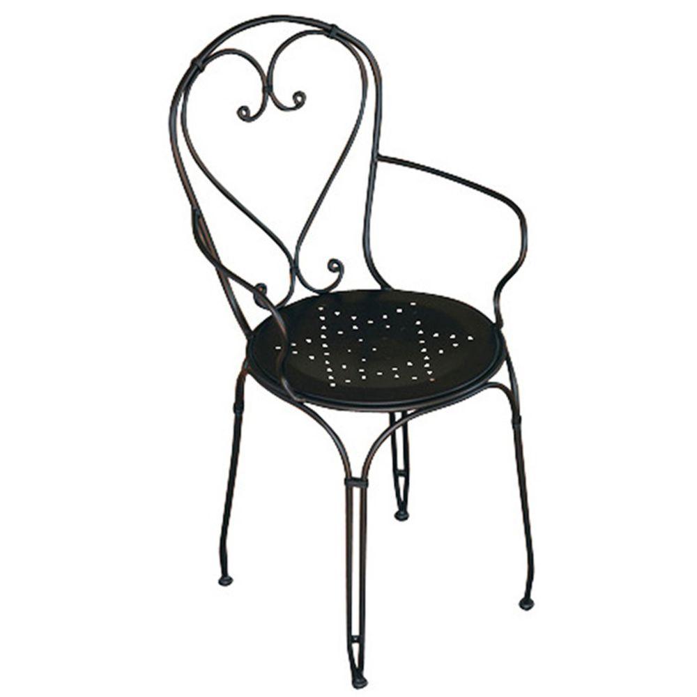 Pegane Chaise de jardin en fer forgé noir - Dim : H 89 x 57 x P 54 cm- A USAGE PROFESSIONNEL