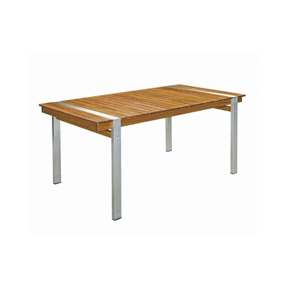 Ma Maison Mes Tendances Table de jardin 160cm en bois et acier NAVARRA - L 160 x l 90 x H 73.5