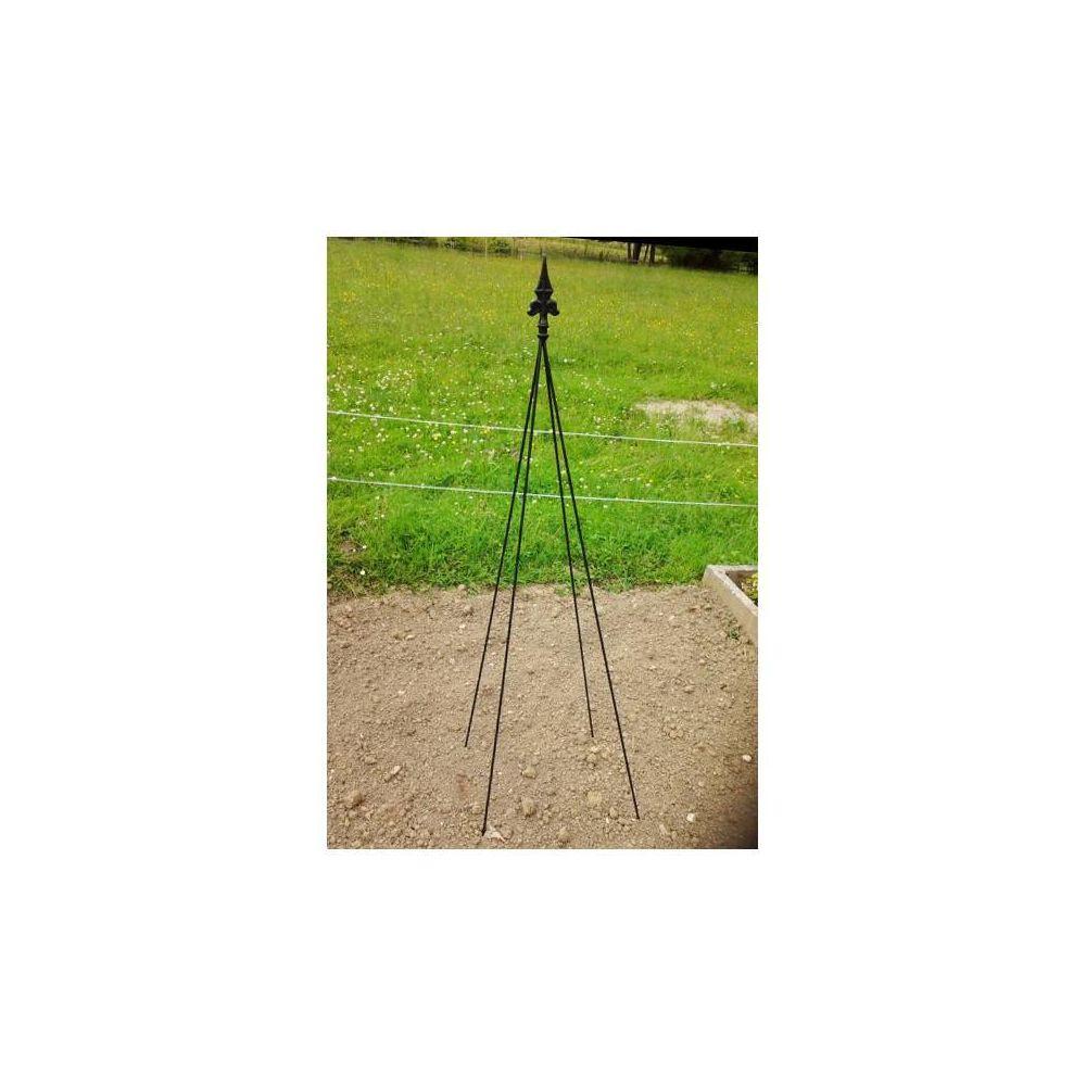 L'Héritier Du Temps Tuteur Pyramide Façon Obélisque Treillis de Jardin Tuteur à Fleurs Plantes Extérieur en Fer Forgé Noir 40x40x195cm