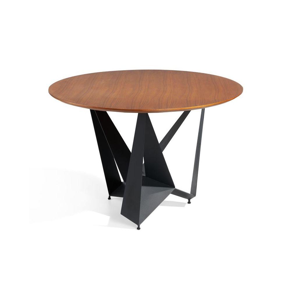 Tousmesmeubles Table de repas ronde Noyer/Noir mat - NOGU