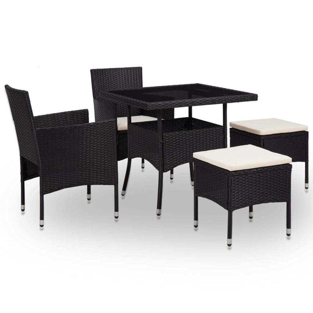 Vidaxl vidaXL Mobilier à dîner d'extérieur 5 pcs Noir Résine tressée et verre