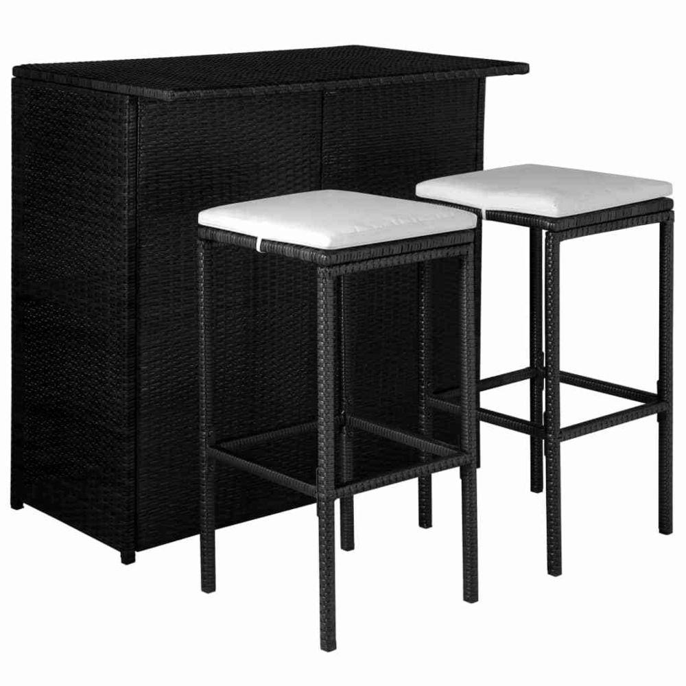 Vidaxl Jeu de bar d'extérieur 5 pcs Résine tressée Noir et blanc crème - Meubles/Meubles de jardin/Ensembles de meubles d'extér