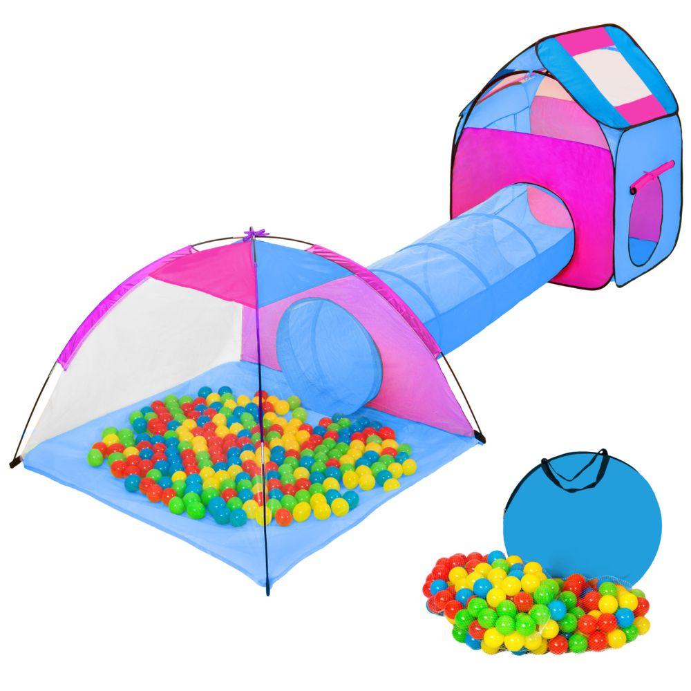 Tectake Tente enfant, Tente Igloo et Tunnel, 200 Balles et Sac - bleu