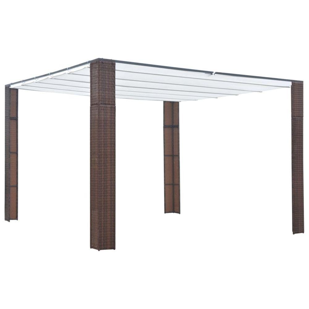 Vidaxl Tonnelle avec toit Résine tressée 300x300x200cm Marron et crème - Structures extérieures - Auvents et abris | Brun | Bru