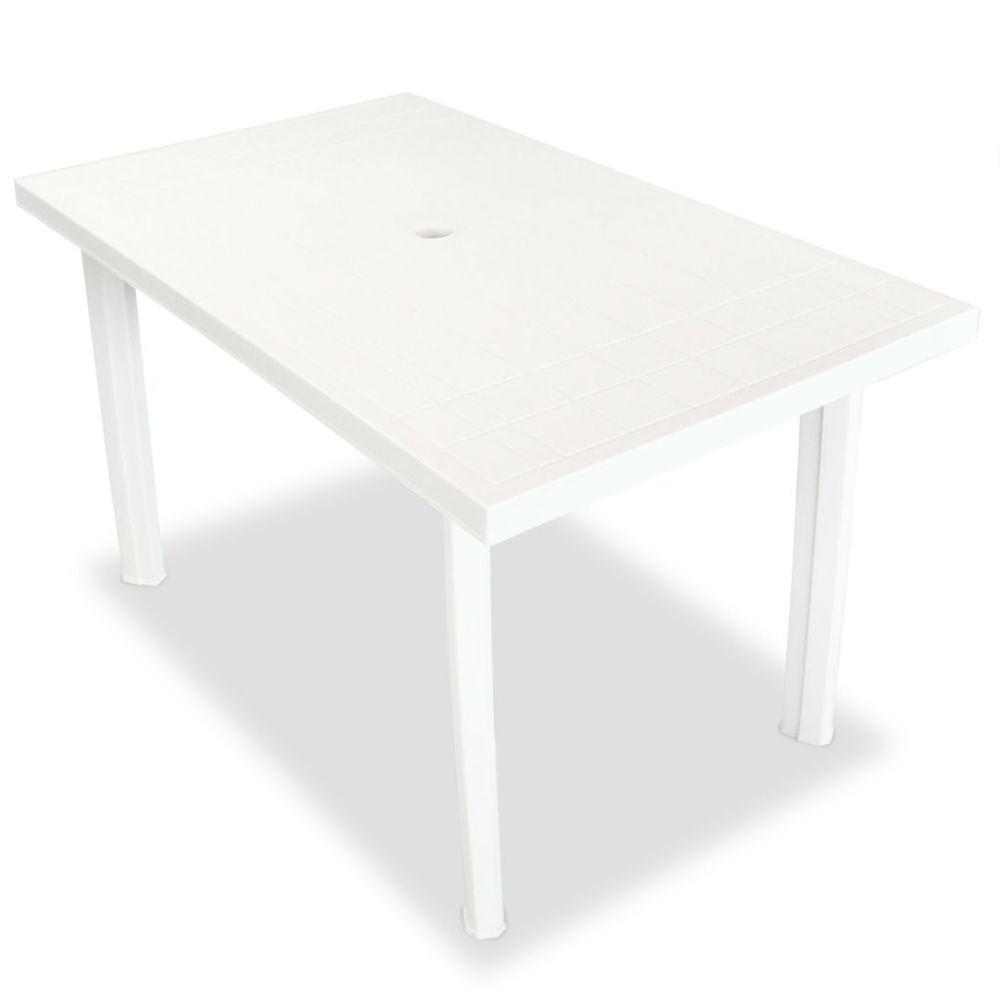 Vidaxl Table de jardin 126 x 76 x 72 cm Plastique Blanc | Blanc