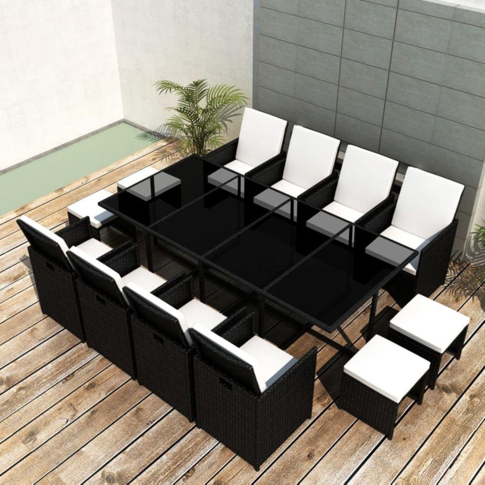 Vidaxl vidaXL Salon de jardin encastrable 13pcs et coussin Rotin naturel Noir