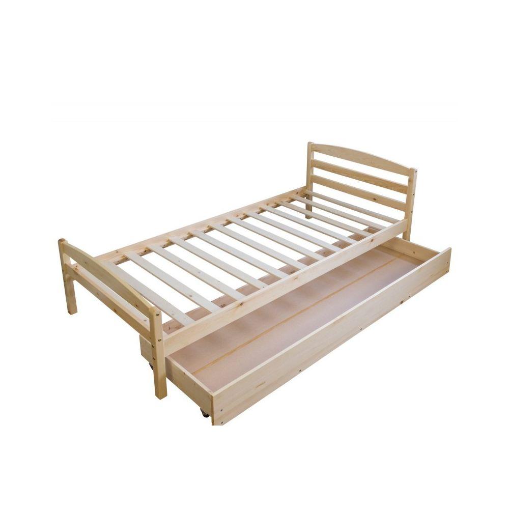 Decoshop26 - Lit simple 1 personne 90x200cm sommier à lattes et tiroir de rangement bois ...