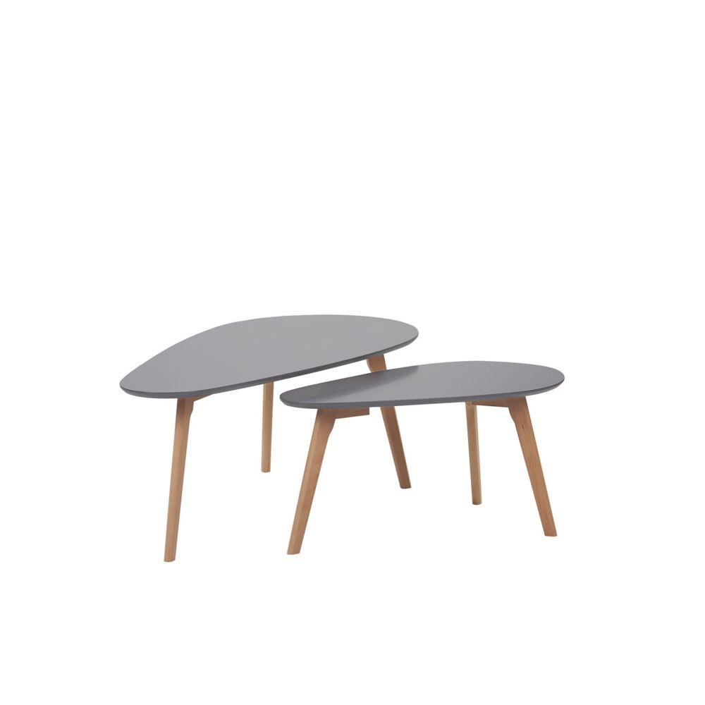 Beliani Beliani Lot de 2 tables basses grises et bois clair FLY III - blanc