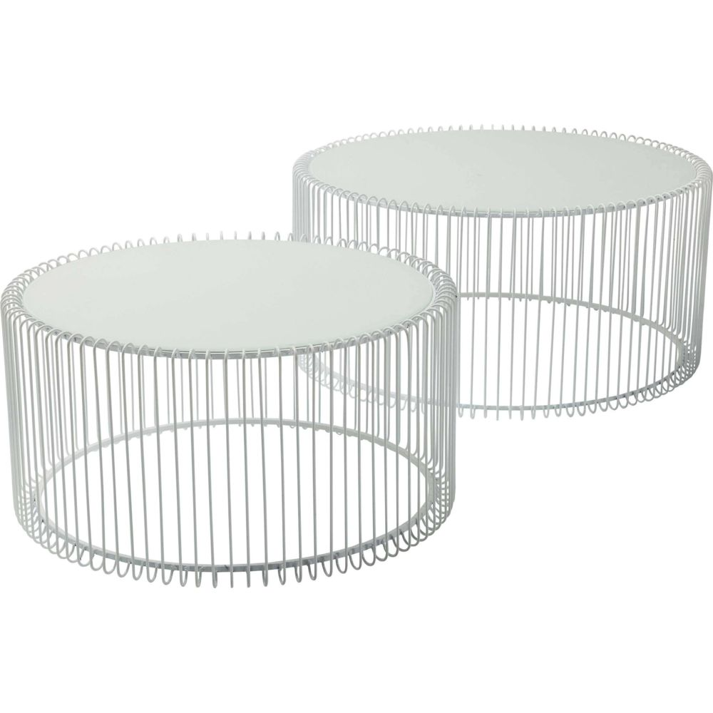 Karedesign Tables basses rondes Wire set de 2 blanches Kare Design