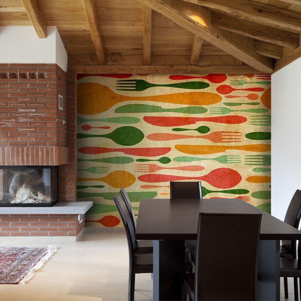 Bimago Papier peint - Couverts en vert et orange - Décoration, image, art   Motifs de cuisine  