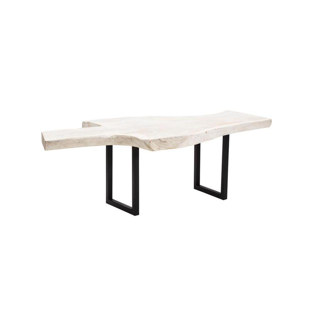 Tousmesmeubles Table de repas asymétrique Métal/Bois blanc - NADOR
