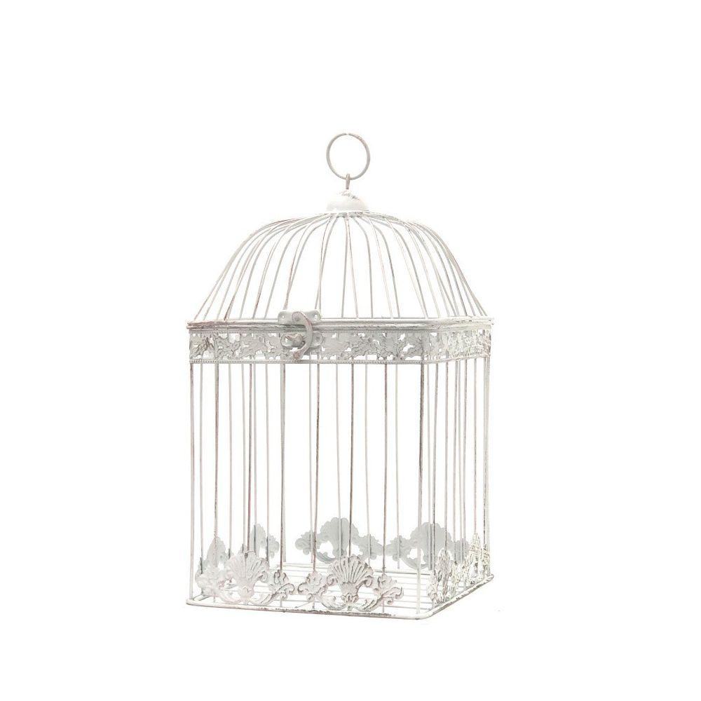 Chemin De Campagne Cage à Oiseaux Blanc en Fer de Décoration Carré 43 cm x 23 cm x 23 cm