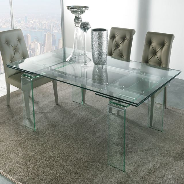 Nouvomeuble - Table design en verre extensible DELIA - table verre extensible